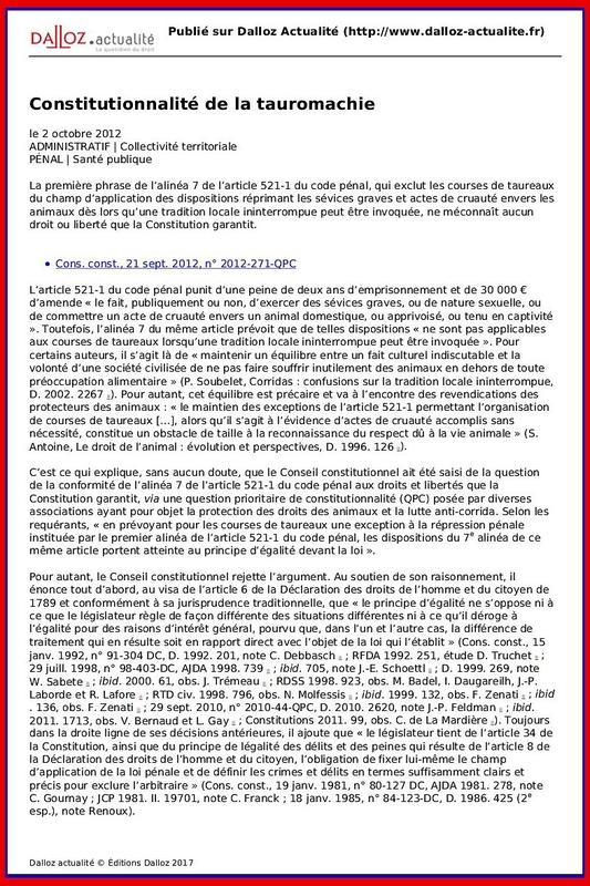 dalloz_actualite_-_constitutionnalite_de_la_tauromachie_-_2012-10-02