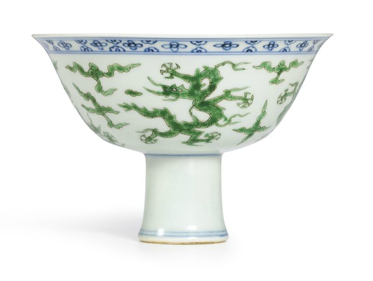 A rare green-enamelled and underglaze-blue 'Dragon' stembowl, Mark and period of Jiajing