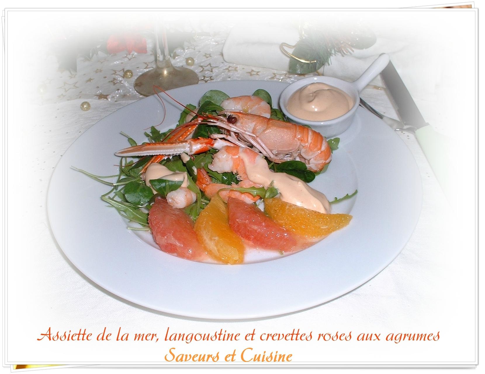 Assiette de la mer langoustine et crevettes roses aux agrumes une entr e festive chambre d - Decoration de salade sur assiette ...
