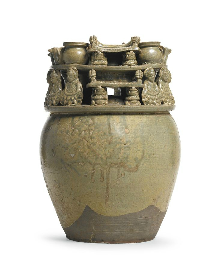 A 'Yue' celadon-glazed funerary jar with buddhist figures, Western Jin dynasty