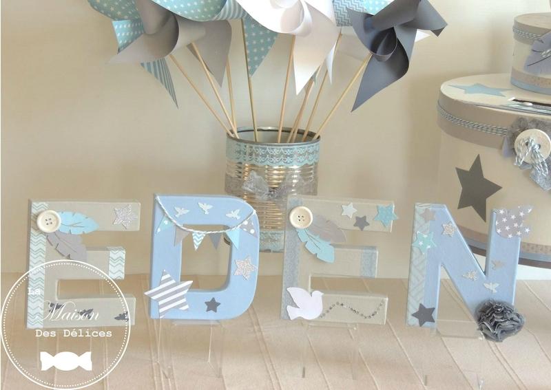 lettre prenom edcorees decoration bapteme theme oiseau etoile bleu blanc gris