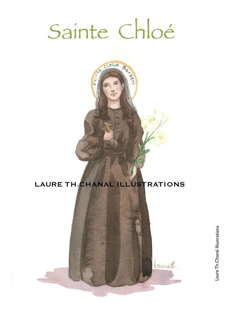 Aquarelle originale de sainte Chloé (Clélia Barberi), religieuse