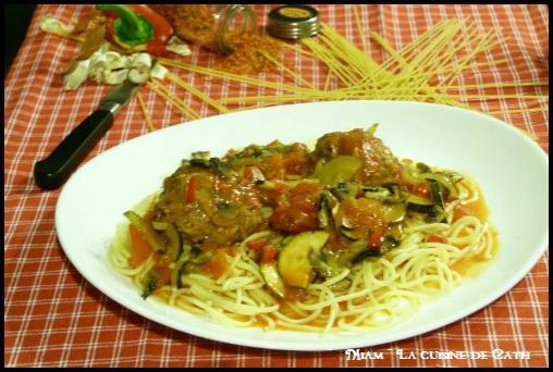 """ღ """" Miam """" Boulettes de Veau aux champignons et poivrons sauce Courgettes et Tomates & Spaghettis"""