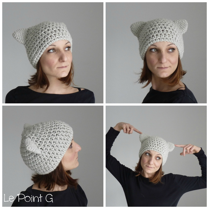 Bonnet Chat Gris clair crochet adulte oreille chat