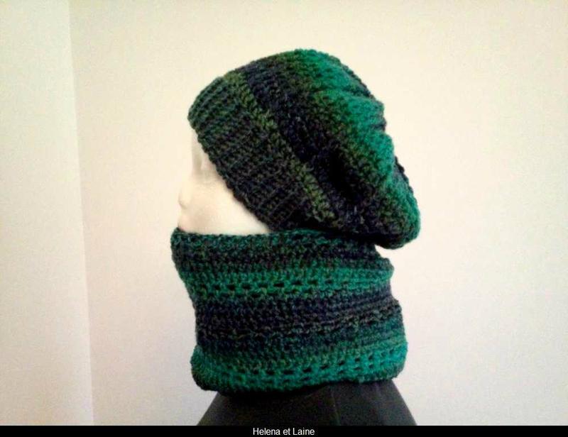 ensemble snood et bonnet vert-bleu2