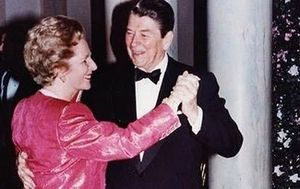 Ronald Reagan and Margaret Thatcher dancing