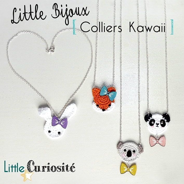 Little Bijoux au Crochet [ Colliers Kawaii ] Lapin, Koala, Panda, Renard + Noeud paillettes - Handmade in France ©Little Curiosité (1)