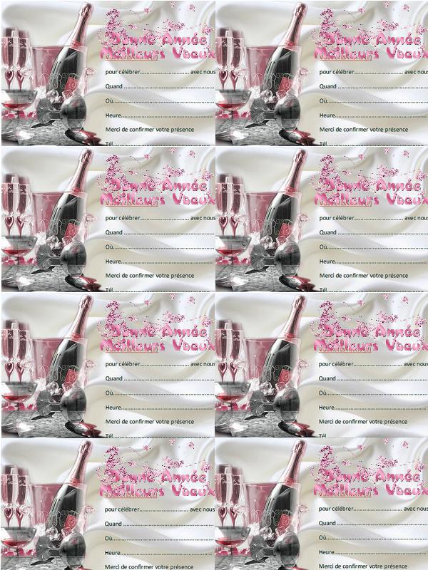 Cartes d'invitation jour de l'an à imprimer création minouchapassion