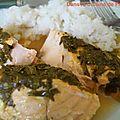 Saumon à la coriandre et au basilic en papillote