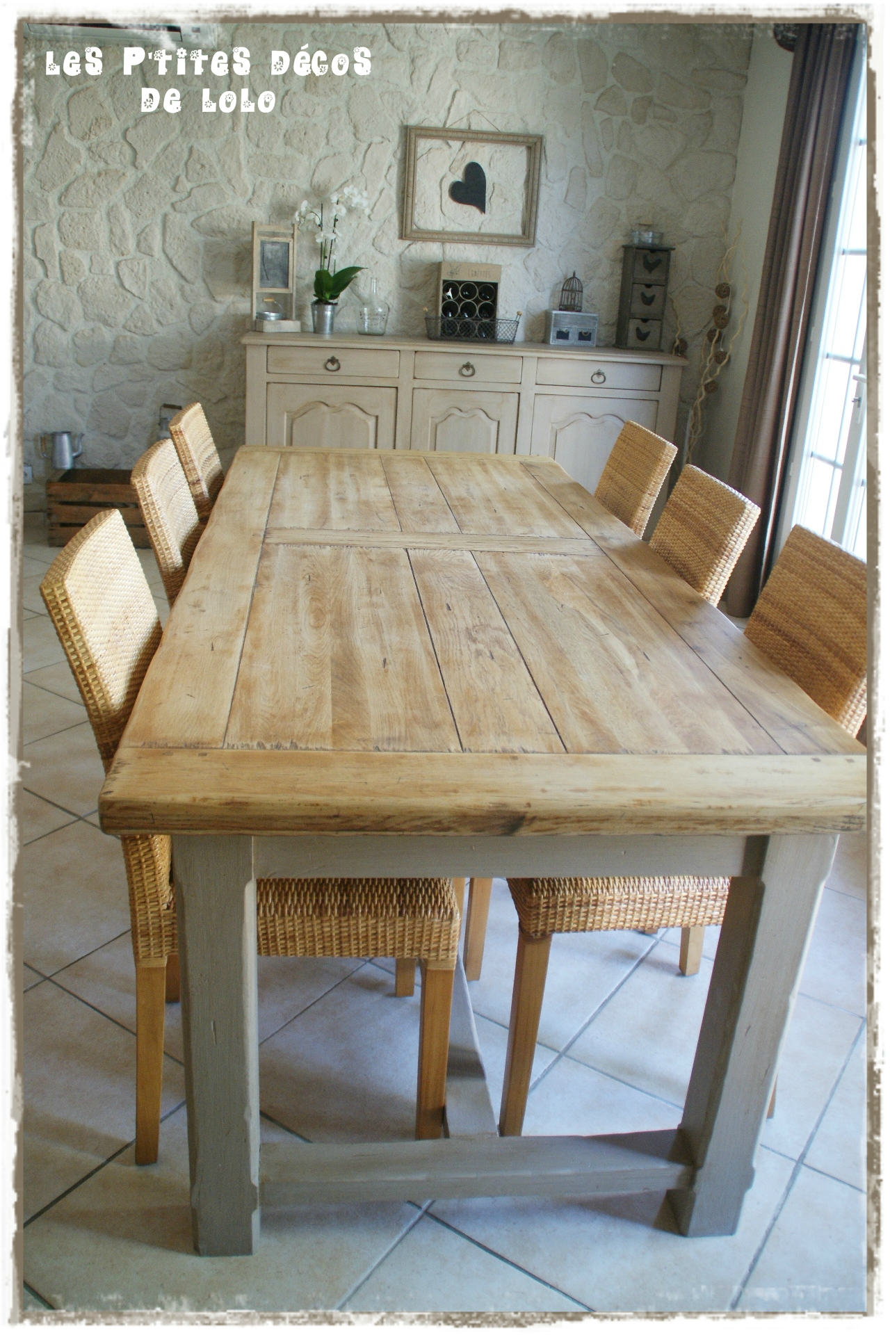 Table relook e photo de meubles et objets relook s les for Table de salle a manger fermiere