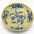 Circular Dish with Decoration of Flowering and Fruiting Branches, Zhengde period, 1506-1521, Ming dynasty, 1368-1644, Jingdezhen, Jiangxi province, China. Harvard Art Museums/Arthur M. Sackler Museum, Bequest of Samuel C. Davis, 1940.189 © 2013 President a