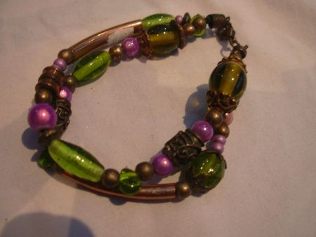 bracelet double range , violet vert