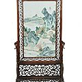 A Chinese porcelain mounted table screen, 19th century