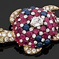 Cartier N.Y Superbe broche en or stylisant une tortue de mer