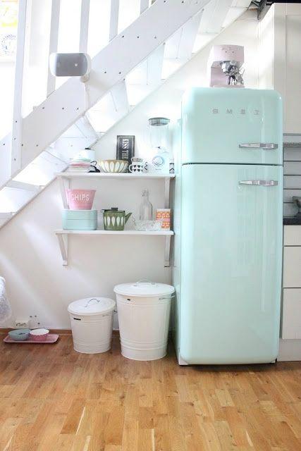 frigo smeg bleu pastel