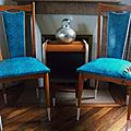 Chaises python turquoise + table CB
