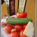 Gaspacho à la tomate et son espuma au gorgonzola et piment d'espelette