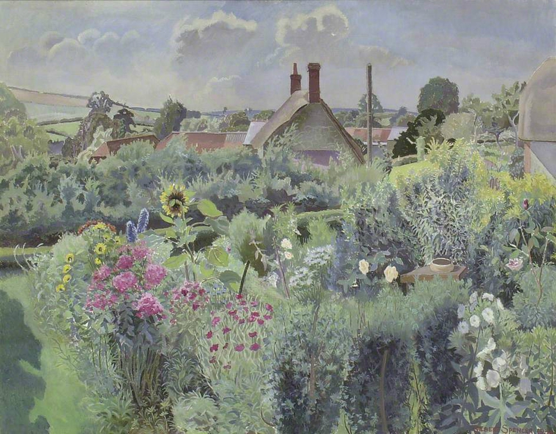 Gilbert SPENCER 1892-1979 Cottage garden at Compton Abbas