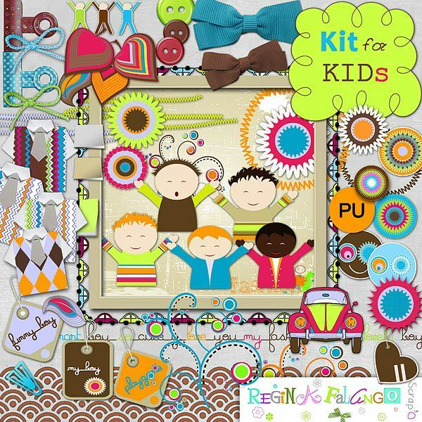 "Free scrapbook kit ""For kids"" from Regina Falango"