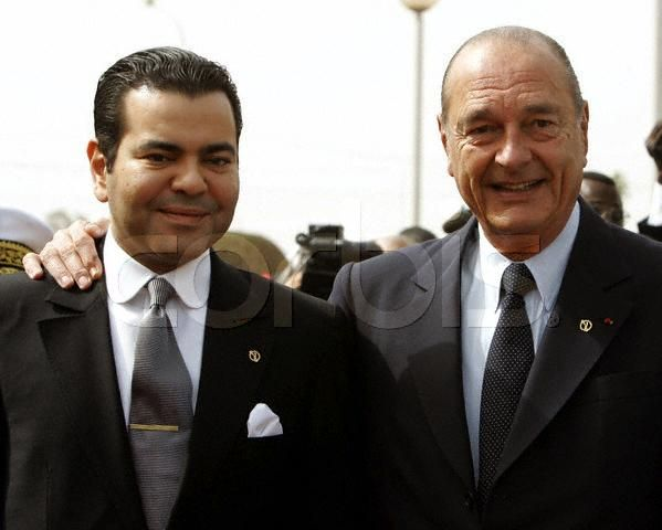 Crown Prince Moulay Rachid poses with French President Jacques Chirac, 2004