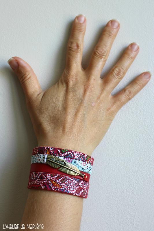 Bracelet manchette cuir 4 rangs