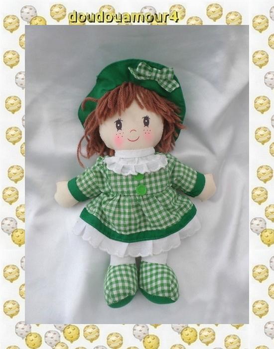 Poupée Doudou Chiffon Robe Blanc Et VIchy Vert Super Toys 28 cm