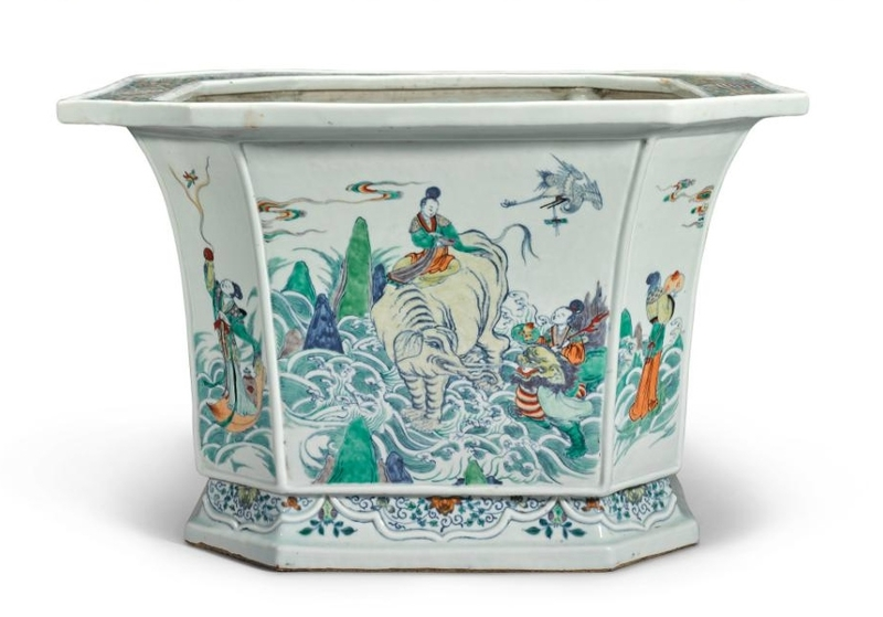 A large doucai 'Immortals' jardinière, Kangxi mark and period (1662-1722)
