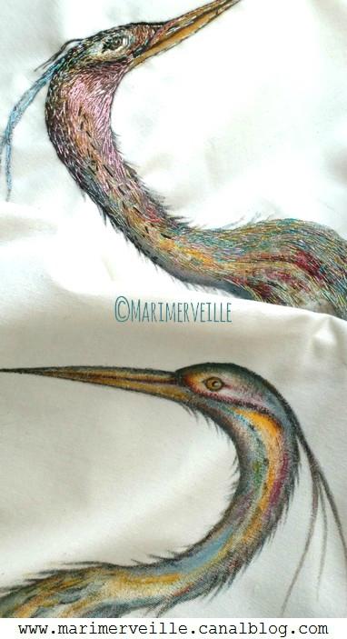hérons peints à la main sur tissu marimerveille
