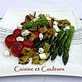 Tomates cocktail, asperges vertes et ravioles croustillantes