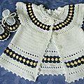 Ensemble crochet bébé 3/6 mois, gilet et chaussons