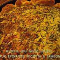 Quiche ou tarte salée aux épinards, ricotta & jambon