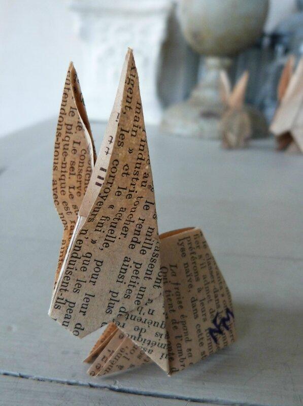 Lapin origami papier ancien (27)