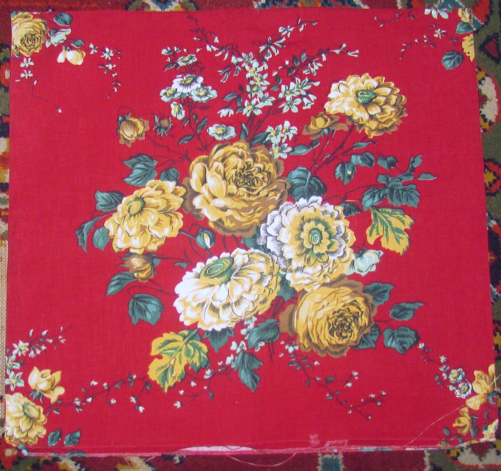 housse de coussin tissu vintage grosses fleurs