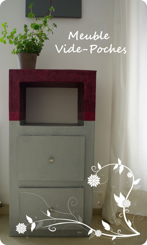 meuble vide poches fleur de carton. Black Bedroom Furniture Sets. Home Design Ideas