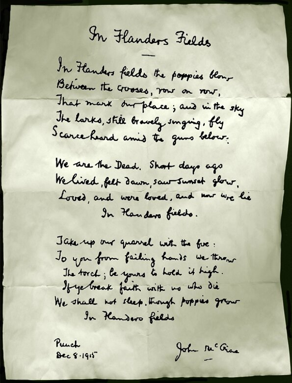 In Flanders Fields, handwriting