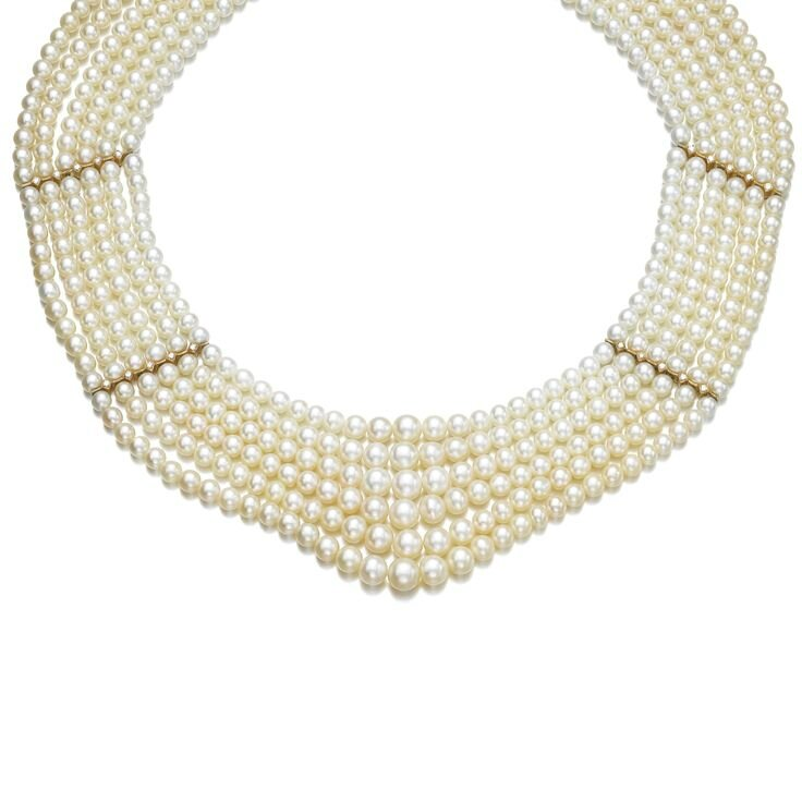 Natural pearl and diamond necklace, one pearl cultured