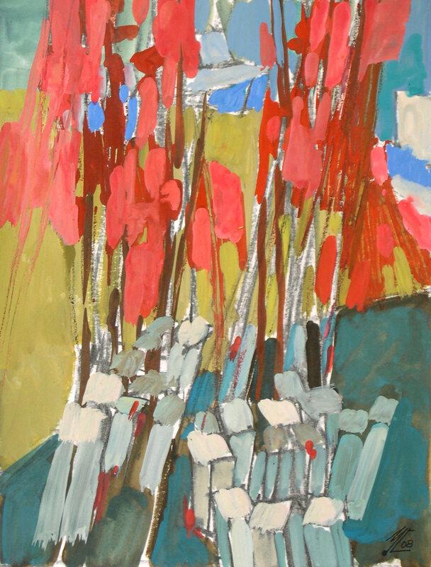 2008-Dans le port en rouge et vert-24x18cm