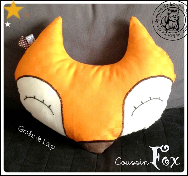coussin Fox coton orange damier