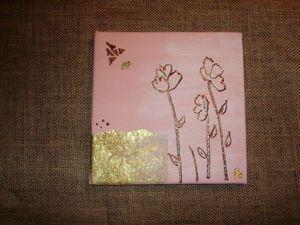 tableau 20x20 fond rose et or