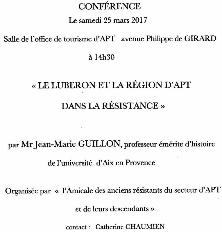 Conférence Pr JM GUILLON 25 Mars 2017, Apt