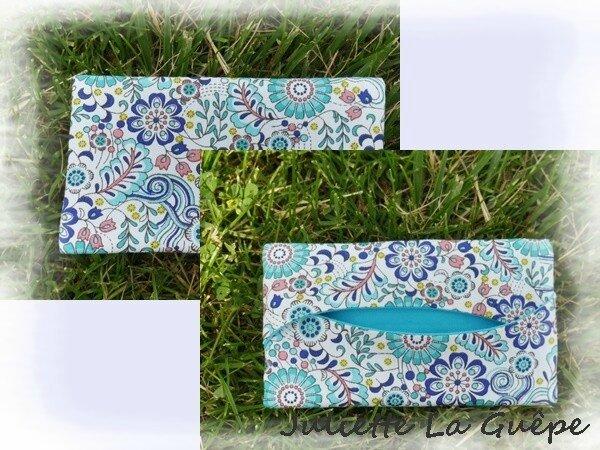 pochette mouchoirs bleu fleurs