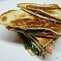 Quesadillas cheddar, épinards, mortadelle