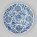 A blue and white charger, kangxi