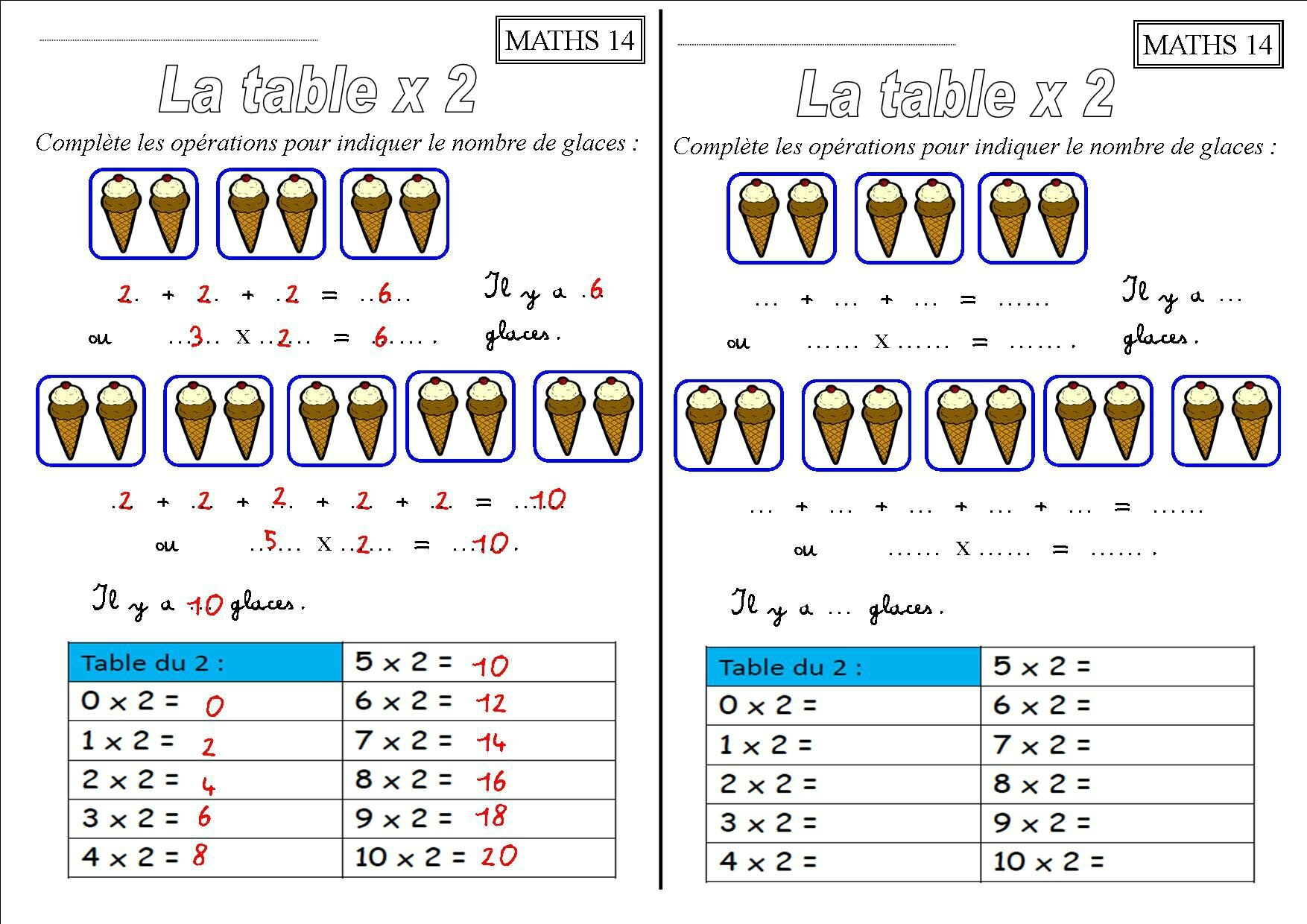Exercices tables de multiplication 2 3 4 5 les tables de for Apprendre multiplication ce1