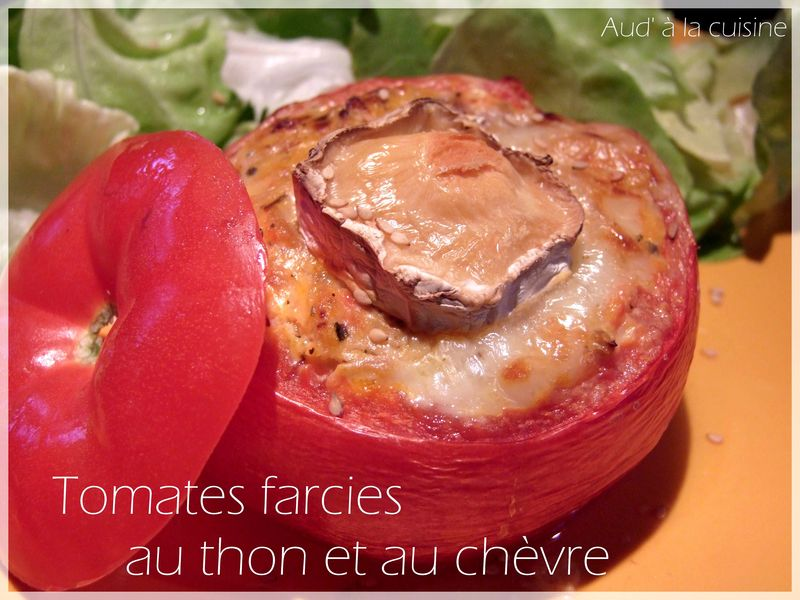 tomates farcies au thon et gratin es au ch vre aud 39 la cuisine. Black Bedroom Furniture Sets. Home Design Ideas