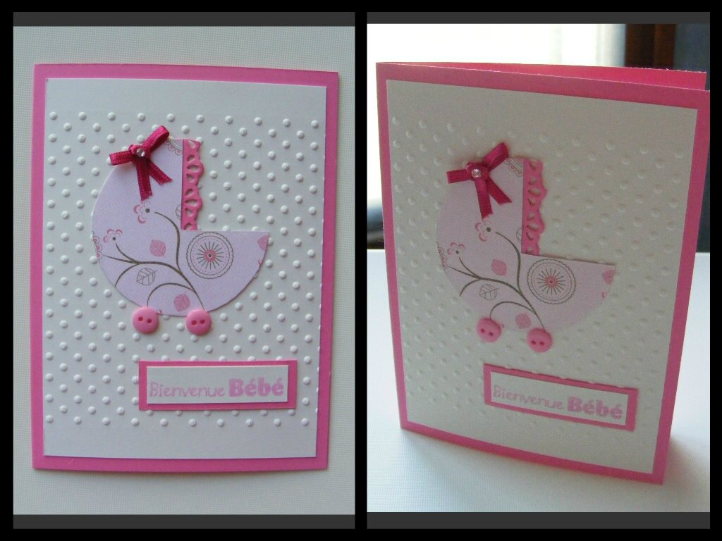 Carte de f licitations b b fille 2 2 le scrap de la tani re - Carte de voeux scrapbooking ...