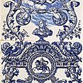 Two plates of a column, the greek a, adrianus kocx, delft, ca. 1690