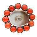 Lover's eye brooch with coral, circa 1825, england