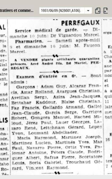 1951 06 09 entrée en 6ème SAFRAS Pierre