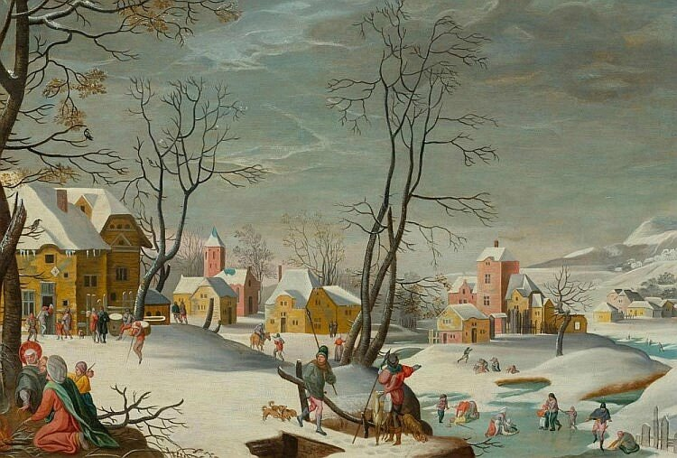Abel Grimmer (c.1570 Antwerp c.1620), A winter landscape of a village